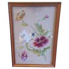 Vintage Embroidered Flowers on Linen Embroidery Floral Needlework Crewelwork Textile Framed
