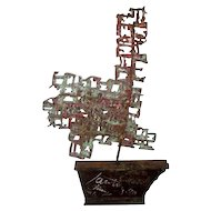 Marcello Fantoni Modern Brutalist Metal Art Sculpture Sailboat