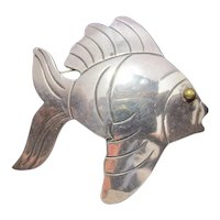Large Vintage Mexican Sterling Fish Brooch