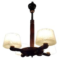French Art Deco 4 Light Chandelier With Blackened Copper And Wood