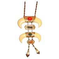 Vintage 1960's Madeira Creations Statement Necklace Faux horns