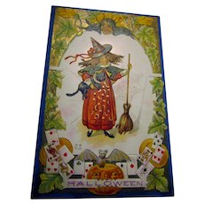 Pretty Nash Halloween Postcard with Little Girl Witch Black Cat