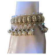 Vintage Signed Hobe Faceted Crystal and Brass Beaded Dangling Bracelet