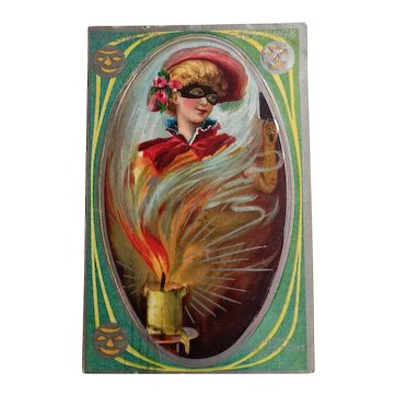Vintage Halloween Postcard Happy Reflections  dated 1910