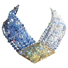 Stunning Jay Feinberg Aurora borealis bib statement runway necklace ab stones possible bridal