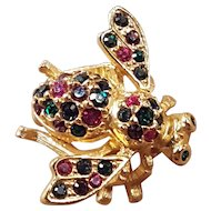 Vintage Joan Rivers Colorful Rainbow Gold Tone Signed Bumble Bee Insect Pin Brooch