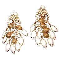 Vintage Juliana Milkglass rhinestone and gold tone bead Dangle Clip Earrings