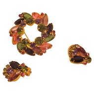Vintage Juliana D & E Colorful Rhinestone Demi Parure Brooch and Earrings