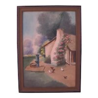 Vintage Framed L.W Stewart Watercolor, Farmhouse Scene, c. 1920's