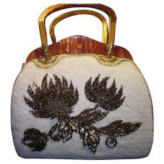 Lilly Dache Seed Beaded Sequins and Lucite Handbag