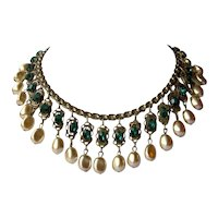 Vintage Miriam Haskell Style Book Chain Bib Necklace with Faceted Green Emerald Glass and Faux Champagne Pearls in Art Nouveau Settings