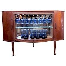 Vintage MCM Mid Century Torbjorn Afdal Teak Wood Corner Bookshelf with Lockable Rotating Hidden Bar Storage