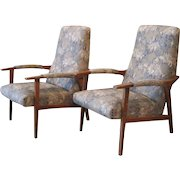 Pair of French Mid Century Modern MCM Upholstered Armchairs - Loungers