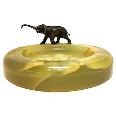 Art Deco Onyx Elephant Vide Poche Dresser Tray