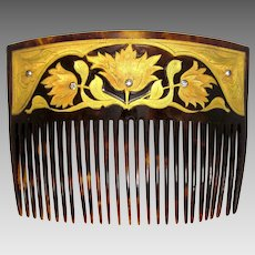 Art Nouveau 18k Gold Floral Inlay Faux Tortoiseshell Hair Comb