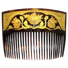 Art Nouveau 18k Gold Floral Inlay Faux Tortoiseshell Hair Comb