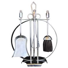 Art Deco Chrome Fireplace Companion Set