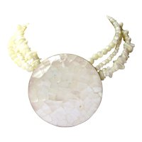 Vintage Statement Beach Resort Wear Summer Couture Triple Strand Shell Necklace with Oversize Mother of Pearl Medallion on Gold-tone Backing
