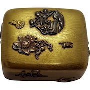 Antique Bronze Mixed Metal Bronze And Copper Japanese Hinged Box From The Meiji Period With Etched Wood Grain