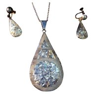 Vintage Mexican Sterling Silver 925 Sterling Silver plated Pendant Necklace and Screwback Earrings ~ Demi