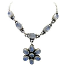 Nicki Butler Moonstone and Sterling Silver Floral Motif Drop Necklace Bohemian Style Natural Stone Gift Jewelry