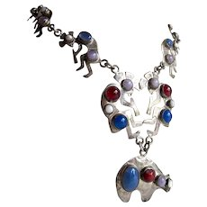 Vintage Native American Sterling Silver and Semi Precious Cabochon gemstone Necklace with Kokopelli and a bear
