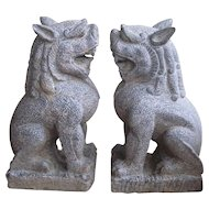 Pair of Large Hand Carved Stone Foo Dog/Foo Lions/Temple Guardian Statues