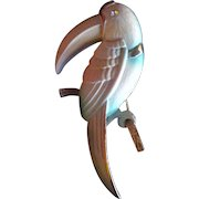 Vintage Signed ©CELEBRITY Brand Enamel Toucan Parrot Bird Brooch Pin