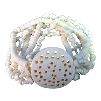 Vintage Mother of Pearl and carved bone Multi Strand Stretchy Bead Bracelet
