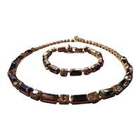 Purple AB Baguette Cut Rhinestone Necklace and Bracelet Demi Parure Set Purple Aurora Borealis Purple and Gold