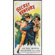 "Original 1955 Movie Poster ""Secret Venture""  3sh.  41""x81"""