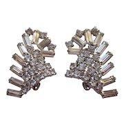 Spectacular Vintage Rhinestone Baguette Earrings