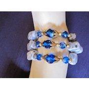 Gorgeous Triple Strand AB Blue Crystal Bracelet