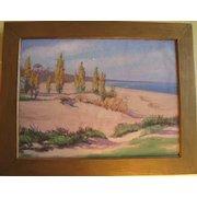 Vintage Painting Oil on Canvas  Beach Scene