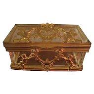 19th Century French Dore Bronze and Glass Box Casket Trinket Box