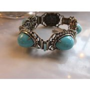 Fabulous Vintage Miriam Haskell Turquoise Colored Cabochon Bracelet