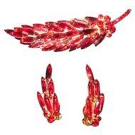 Vintage Juliana Demi Parure Brooch Earring Set  in Ruby Red