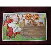 """Halloween Postcard Julius Bien """"What the Boys did to the Cow"""""""