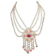 Vintage Red Czech Glass and Brass filigree Festoon Necklace