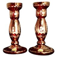 Bohemian Ruby Red cut to clear Candlestick Set