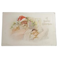 A Happy Christmas Santa Looking Over Sleeping Children Postcard 1912