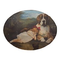 St. Bernard Protector Dog With Child And Black Cat Folk Art Painting Oil on Canvas applied to Board