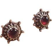Sterling Silver Nautical Garnet Ship Wheel Post Earrings