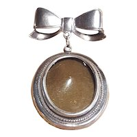Sterling Silver 1 Inch Picture Pin Brooch With Sterling Bow