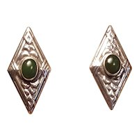 Sterling Silver Diamond Shaped Mexican Sterling And Green Onyx TS-01 ASM Post Stud Earrings