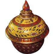 Vintage Thai Round Lidded Trinket Box