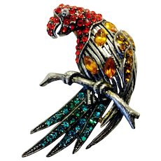 Vintage Signed Thelma Deutsch Parrot Brooch Pin