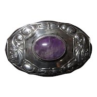 Antique Purple Amethyst and 800 Silver Victorian/Steampunk Brooch