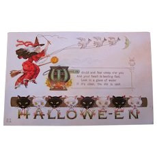 Vintage Nash Halloween Postcard with witch, cauldron black and white cats