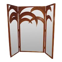 Vivai Del Sud Mirrored Bamboo Palm Tree Folding Screen